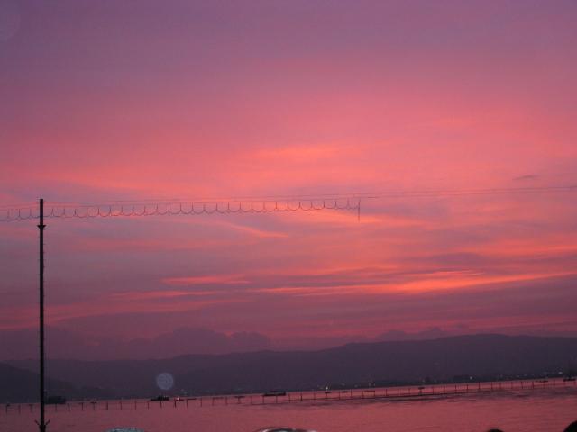 夕焼け 諏訪湖