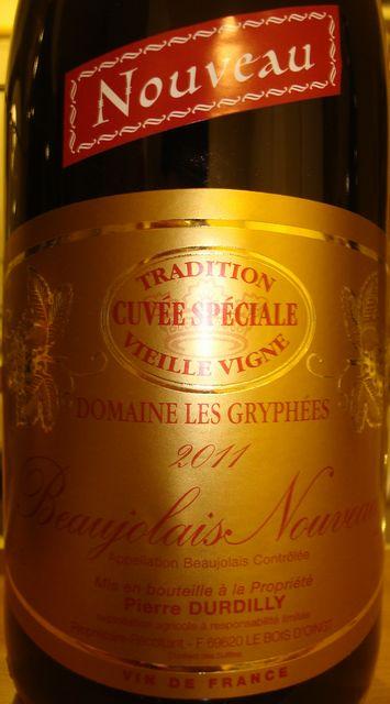 Beaujolais Nouveau Cuvee Speciale Vieille Vigne Domaine Les Gryphees  Pierre Durdilly 2011