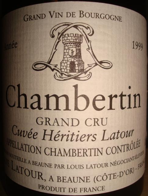 Chambertin Cuvee Heritiers Latour Louis Latour 1999