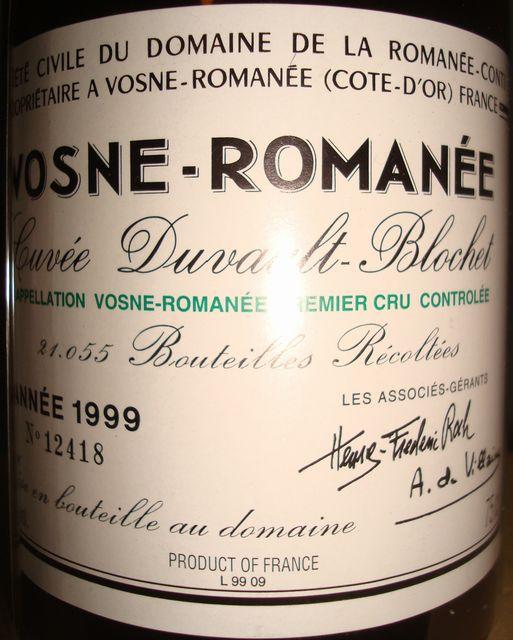 Vosne Romanee Cuvee Duva lt Blochet Domaine de la Romanee Conte 1999