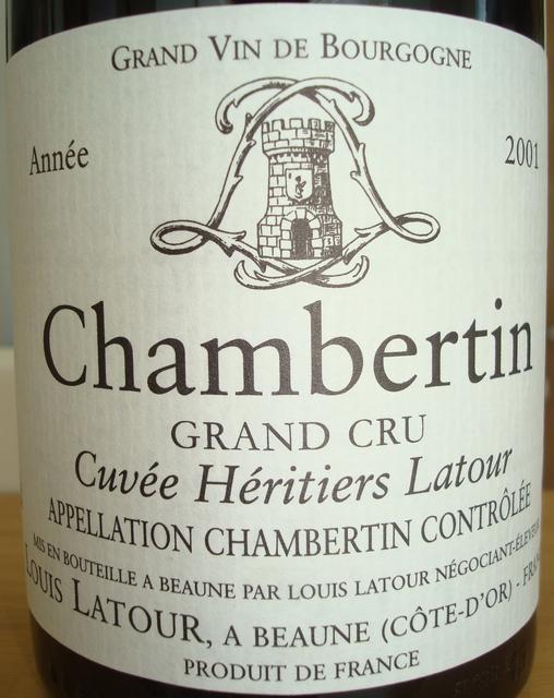 Chambertin Cuvee Heritiers Latour Louis Latour 2001