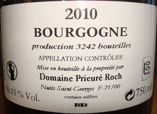 Bourgogne Pinoterie Prieure Roch 2010 part2