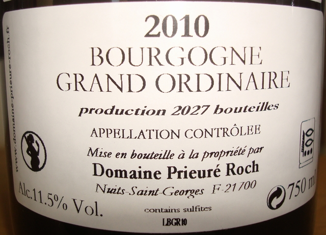 Bourgogne Grand Ordinaire Rouge Prieure Roch 2010 Part2