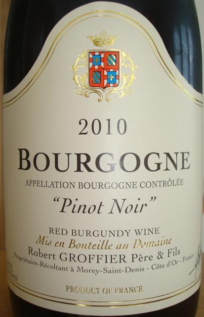 Bourgogne Pinot Noir Robert Groffier 2010