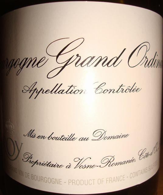 Bourgogne Grand Ordinaire Blanc Domaine Leroy 2009