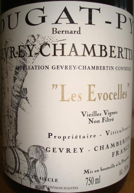 Geverey Chambertin Les Evocelles Vieilles Vignes Dugat Py 2007