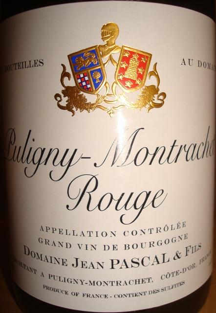 Puligny Montrachet Rouge Domaine Jean Pascal & Fils 2010
