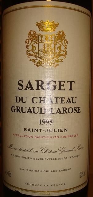 Sarget du Chateau Gruaud Larose 1995