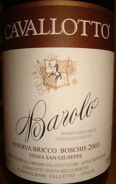Barolo Riserva Vignolo  Cavallotto Tenuta Bricco Boschis 2003