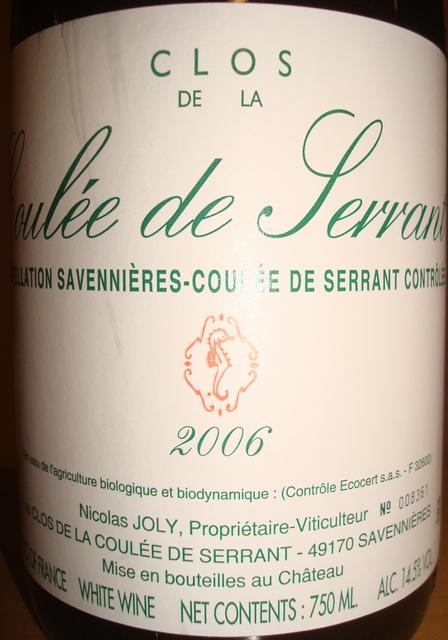 Savennieres les clos de la Coulee de Serrant Domaine Nicolas JOLY 2006