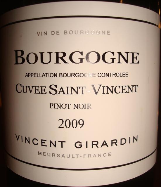 Bourgogne Cuvee Saint Vincent Vincent Girardin 2009