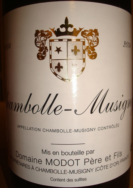 Chambolle Musigny Domaine Modot Pere et Fils 2004