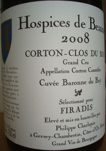 Hospices de Beaune Corton Clos Du Roi Cuvee Baronne du Bay 2008