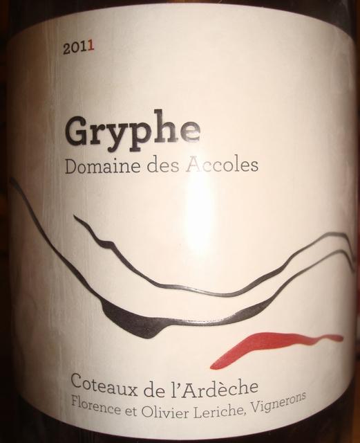 Gryphe Domaine des Accoles Coteaux de lArdeche 2011