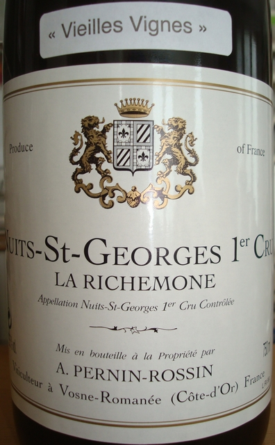 Nuits St Georges 1er Cru La Richemone Pernin Rossin 1999