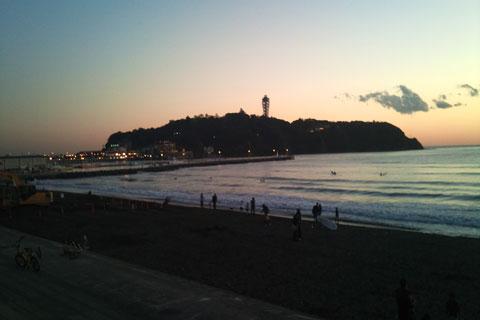 江ノ島側風景夕方