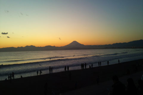 富士山側風景夕方