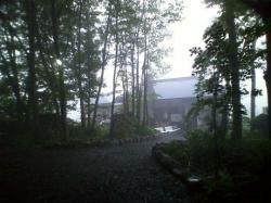 木のトンネルの奥に見える竜山の湯