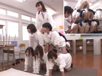 圧巻のノーパン組体操!生徒全員が履いてない変態学園!