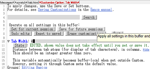 Customize tab width
