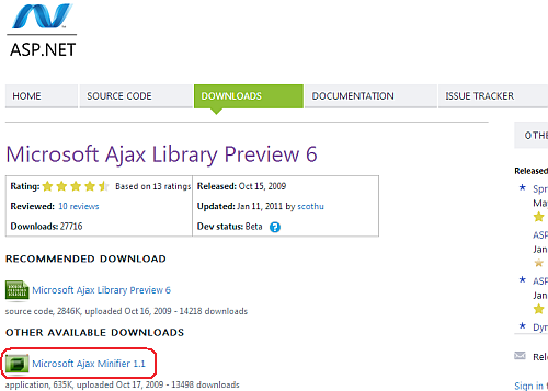 Download Microsoft Ajax Minifier