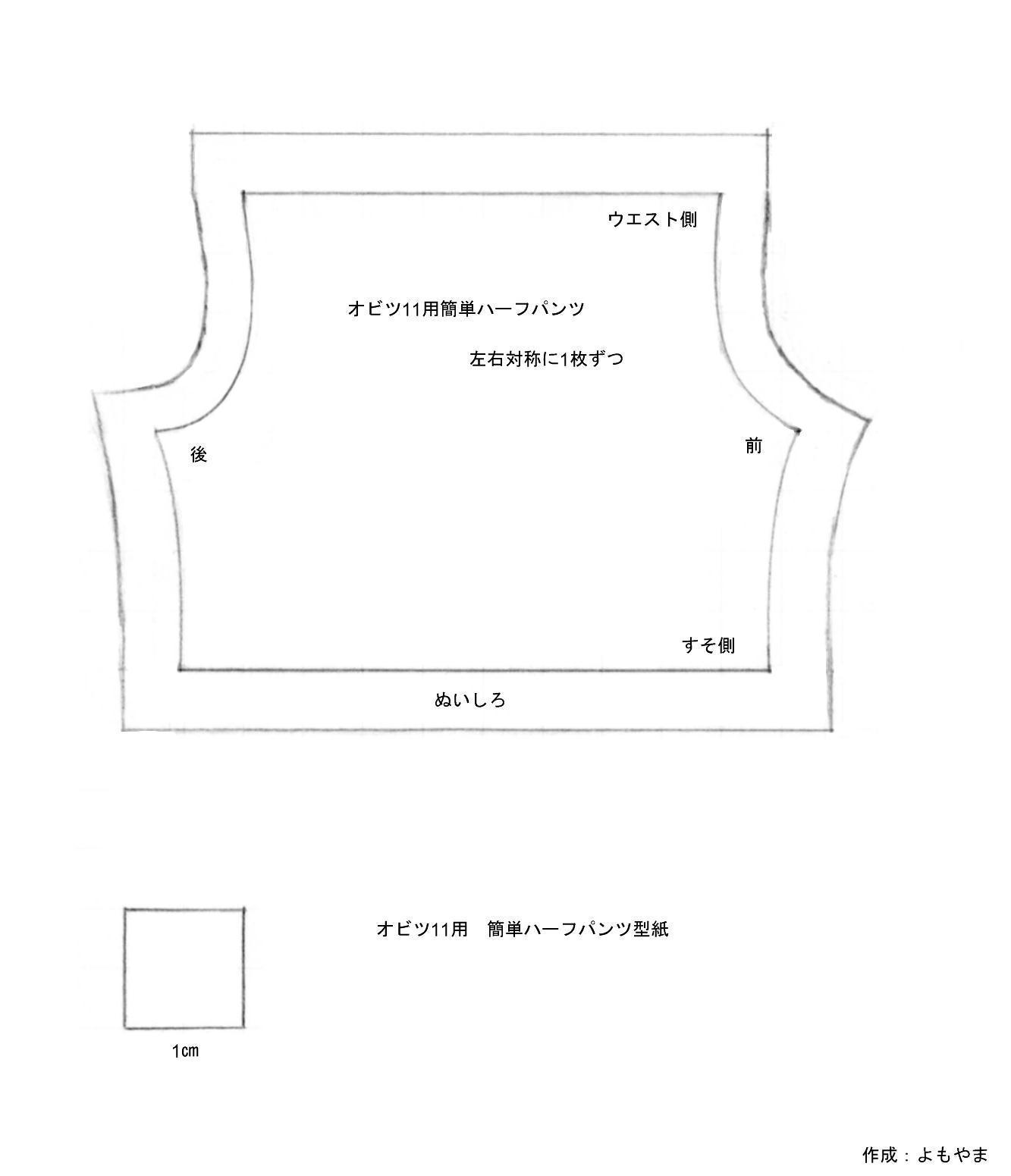 この型紙データのサムネイルをクリックし、お持ちのプリンタで印刷して使用してください。 型紙データの下部に一辺が1㎝の正方形があります。この正方形が1㎝になる