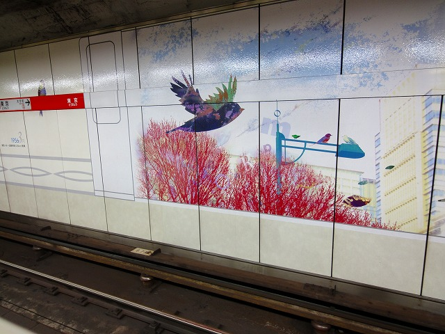 丸の内東京駅鳥の絵