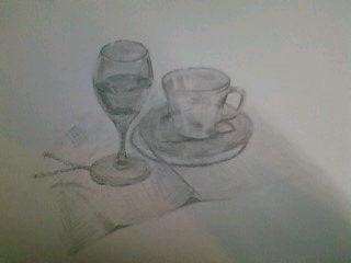 デザイン講習011 ガラス製品(水入りワイングラス・カップ&ソーサー) スケッチ未完成