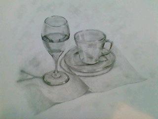 デザイン講習012 ガラス製品(水入りワイングラス・カップ&ソーサー) スケッチ