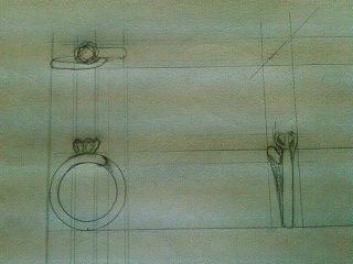 デザイン講習019 リング三面図 クロッキー