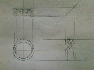 デザイン講習020 リング三面図 クロッキー