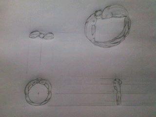 デザイン講習022 リング想像三面図&立面図 クロッキー
