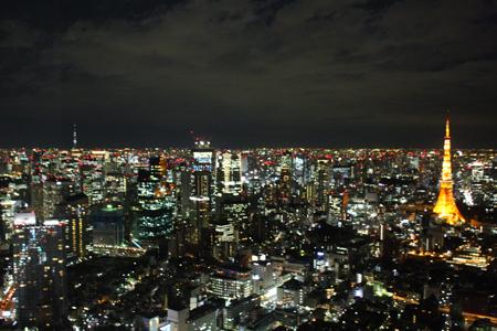 展望デッキよりスカイツリーと東京タワー