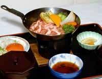 士別産ラム肉のフライパン定食