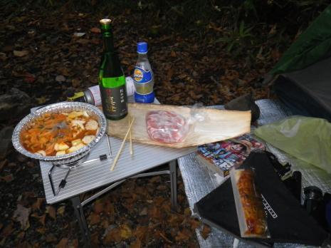 平湯キャンプ場 夕食