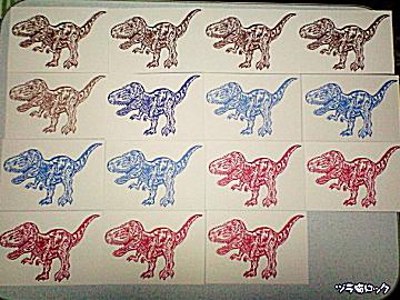 ティラノサウルスはんこポストカード