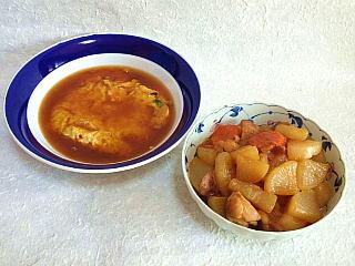 131130_1741本日の料理・蟹玉・鶏肉と大根の照り煮Q