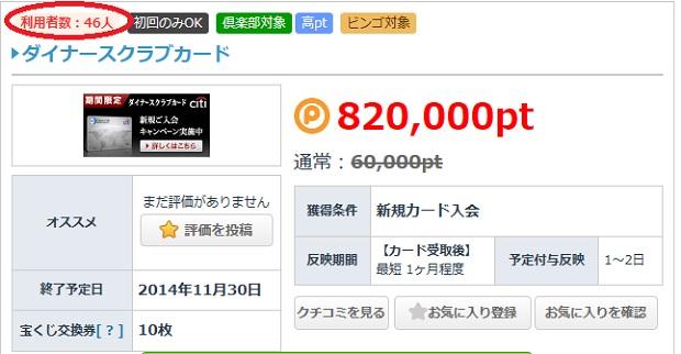 ダイナースクラブカード発行で82,000pt獲得