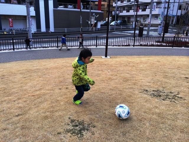 ボールで遊ぶ陸ちゃん