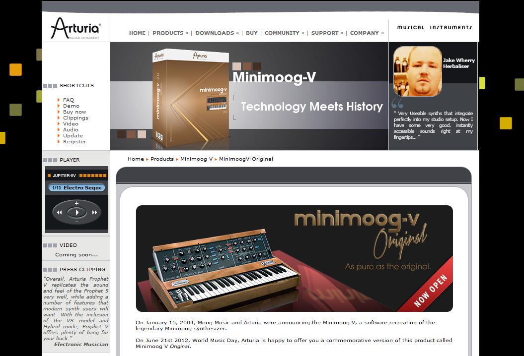 Arturiaが1日限定で仮想シンセサイザー「Minimoog-V Original