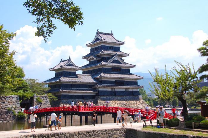 赤い橋と松本城