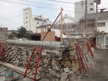 境界塀改修~CB積み